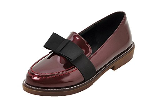 Pull Shoes Women's WeenFashion Pumps Solid Low Leather Red Heels On Patent qYTTpzxwC