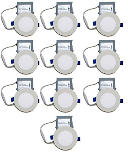 YUURTA (10-Pack) Slim LED Recessed Light (Pot Light/Downlight) 4-Inch 10W 5000K (Daylight) Dimmable Round White Trim Thin Panel with Driver in Junction Box 120V ETL Listed IC Rated (4-Inch, 5000K) ()