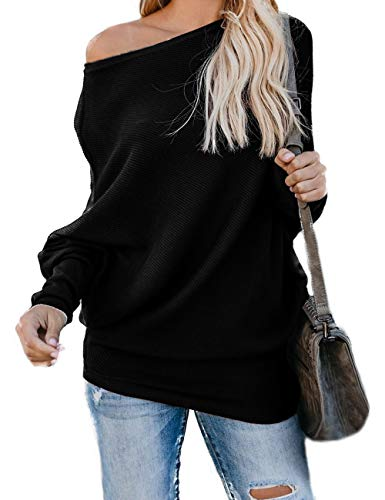 HZSONNE Women's Casual Bat Wing Sleeve Knitted One Shoulder Loose Pullovers Sweater Jumper Sweatershirt Black