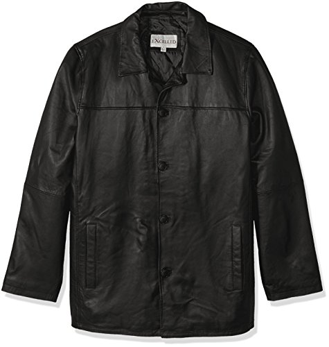 Excelled Men's Big and Tall Four-Button Lambskin Leather Car Coat, Black, 4XLT