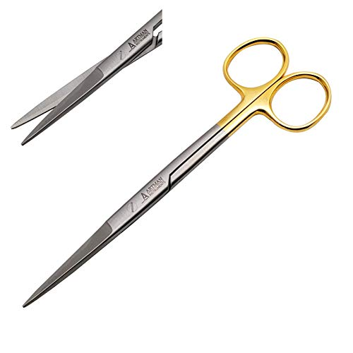 Surgical Scissors straight 5 inches long with TC Gold Plated handle Dental Surgical Scissors with tungsten carbide inserts extra sharp and durable BY WISE LINKERS USA