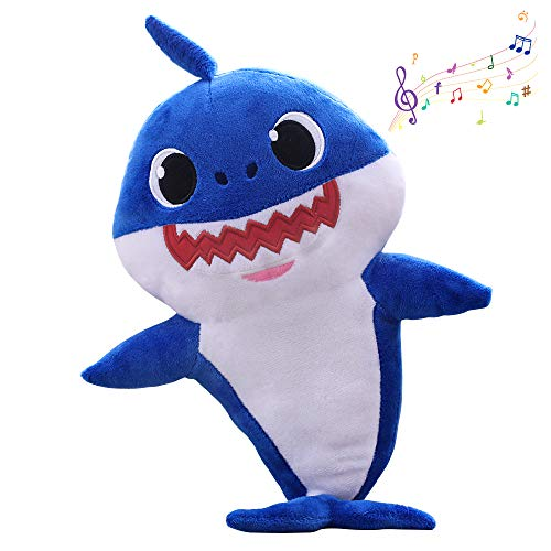 (Windrew Shark Baby Singing Plush Doll,Cute Cartoon Shark Plush Toy Singing Children English Song Gift boy Girl Shark Baby Plush (Blue))