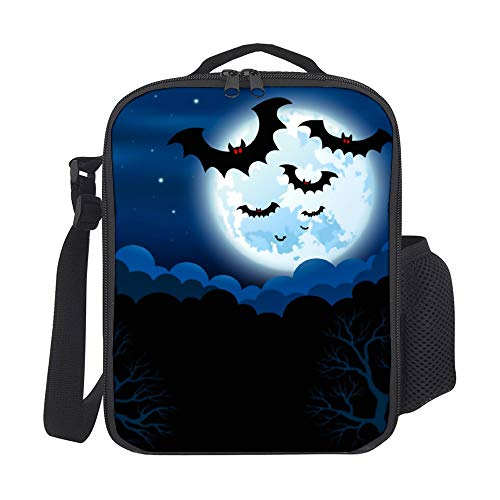 SARA NELL Kids Lunch Box Insulated Full Moon In The Halloween Lunch Bag Large Lunch Boxes Cooler Meal Prep Lunch Tote With Shoulder Strap For Boys Girls Teens Women Adults