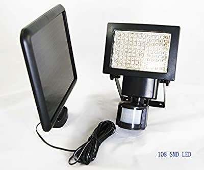 2 Pack 108 SMD LEDs Bright Outdoor Solar Motion Sensor Light, 1100 lumens, Time and 3 Intelligent Modes Adjustable, Solar Panel with 15FT Extend Cable, Waterproof Good For Outdoor Use