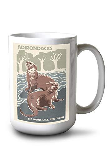 Adirondacks, New York - Big Moose Lake - River Otters - Woodblock (15oz White Ceramic Mug)
