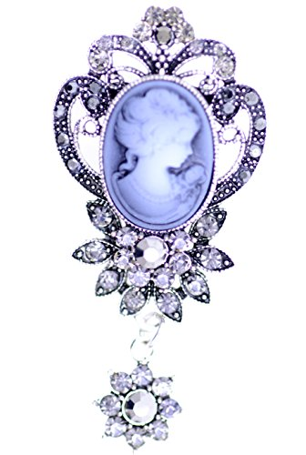 Lizzyoftheflowers - Vintage retro style Victorian lady cameo brooch bag pin w/hanging crystal flower