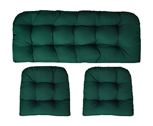 RSH Decor Sunbrella Canvas Forest Green 3 Piece Wicker Cushion Set - Indoor/Outdoor Wicker Loveseat Settee & 2 Matching Chair Cushions - Green