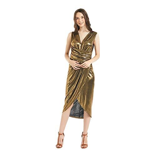 Women's Sequin Glitter V Neck Sleeveless Empire Waist Long Evening Dress Disco Theme Party Dress (XXL, Gold)