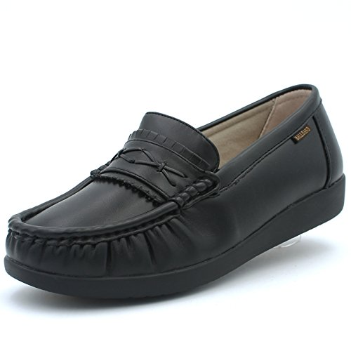 Ball-Band Women's Slip Resistant Work Loafers Shoes Non-Slip Comfortable Leather Slip-On Arch Support (11 D(M) US Women, Black)