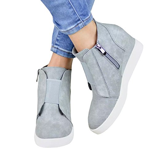 Nailyhome Womens Sneakers Wedges High Top Side Zipper Slip On Platform Sneakers