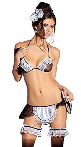 Amison - 1 juego de ropa interior sexy y atrevida de muselina. Modelo uniforme de