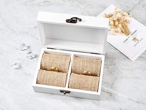 AW Rustic Wood Ring Bearer Box White Ring Box Wooden Ring Pillow Box Decorative Jewelry Box5.9