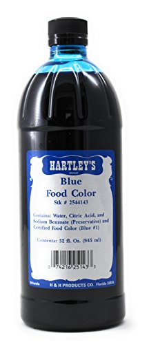 Hartleys Blue Food Coloring Commercial Grade Professional Kitchen Blue Culinary Liquid Color 32 Oz ✡ OU Kosher by Hartleys