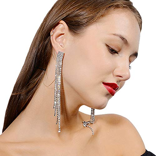 - Deniferymakeup Long Tassel Earrings Mix Chain and Crystal Chain Pendant Open Gold Silver Tone Earrings Multi Chain Eardrop Long Earrings Women's and Girls Sparkling Rhinestone Accessories (Silver)