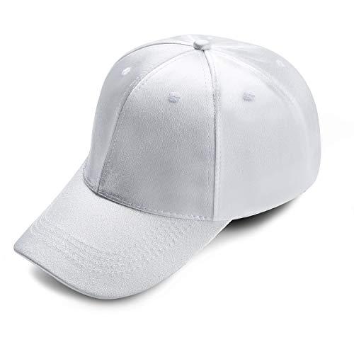 Cap Silk Baseball (AURORA&LY Top Level Baseball Cap for Men Women - Classic Silk Dad Hat Plain Cap Low Profile Adjustable Baseball Cap (White))