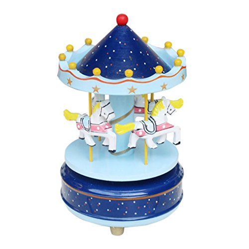 BXT Wooden Merry-Go-Round Musical Box 4-Horse Figurine Rotating Carousel Music Box with Tune Castle in the Sky Great for Kids Children Birthday Christmas Gift Toy Collection Home Decoration