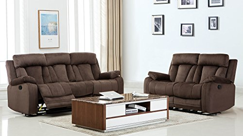Blackjack Furniture 9760-BROWN-2PC The Elton Collection 2-Piece Reclining Living Room Sofa Set, Brown