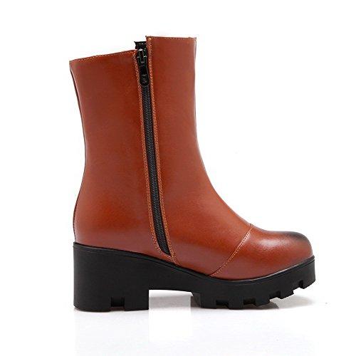 AllhqFashion Damen Mittler Absatz Rein Rund Zehe Reißverschluss Stiefel mit Metallisch, Gelb, 34