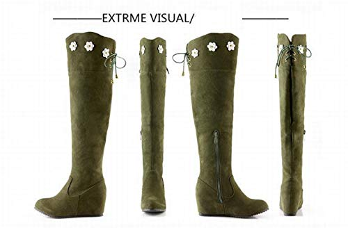 De Invierno Xdx Con Para Altas Botas Mujer Occidentales 35 43 Verde botas Aumento 88AOzZWnr