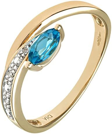 Naava Women's 9 ct Yellow Gold Round Brilliant Cut Diamond and Marquise Blue Topaz Ring