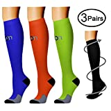 Compression Socks (3 Pairs), 15-20 mmhg is BEST Athletic & Medical for Men & Women, Running, Flight, Travel, Nurses - Boost Performance, Blood Circulation & Recovery (Large/X-Large, Assorted 6)