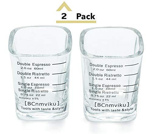 BCnmviku Espresso Shot Glasses Measuring Cup Liquid Heavy Glass for Baristas 2oz for Single Shot of Ristrettos (2 pack) by BCnmviku (Image #7)