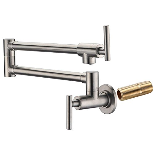 SUMERAIN Pot Filler Faucet Wall Mount,Brushed Nickel Finish and Dual Swing Joints Design ()