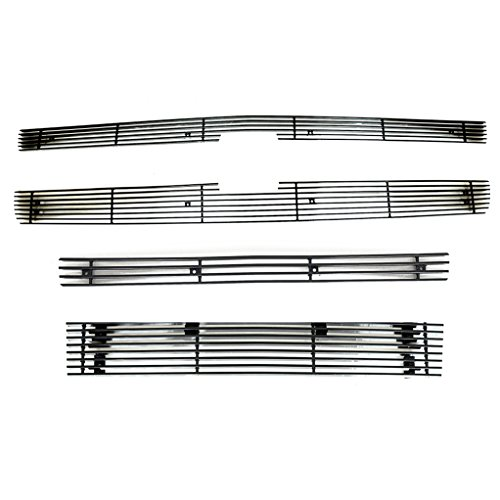 EAG 07-13 Chevrolet Silverado 1500 Billet Grille Aluminum Black 4mm Horizontal Overlay With Tow Hooks Combo Kit Includes Grille/Center Bumper/Lower Bumper Inserts