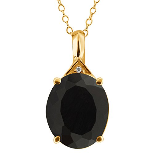 4.11 Ct Oval Black Onyx and Topaz Gold Plated Sterling Silver Pendant