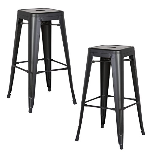 AC Pacific Modern Backless Light Weight Industrial Metal Barstool 4 Leg Design, 30
