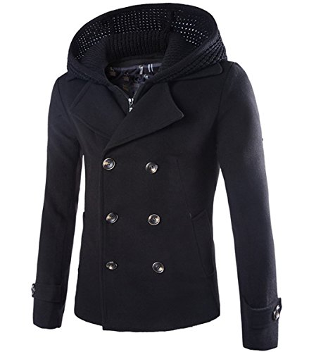 Mens Wool Blend Coat Double Breasted Winter Outwear Pea Coats With Hoodie Warm Jacket, Black, ()