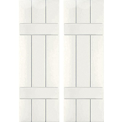 "Ekena Millwork RWB12X026WHW Exterior Three Board Real Wood Western Red Cedar Board-N-Batten Shutters (Per Pair), White, 12""W x 26""H"