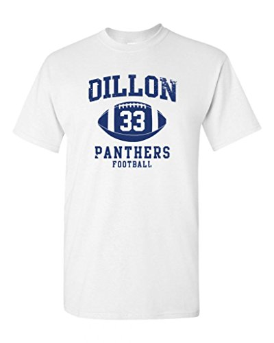 Dillon Football Retro Adult DT T-Shirt Tee (Small, White)