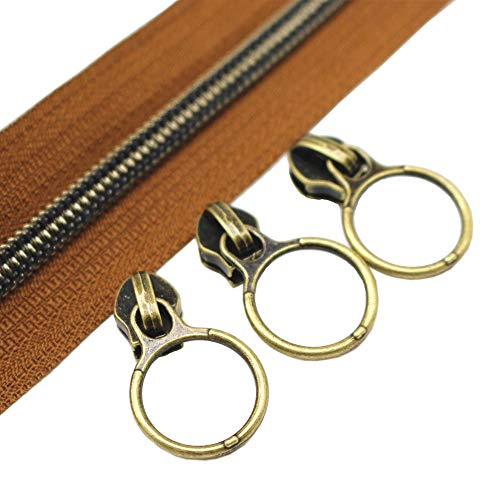 YaHoGa #5 Antique Brass Metallic Nylon Coil Zippers by The Yard Bulk 10 Yards Brown Tape with 20pcs Anti-Brass Sliders for DIY Sewing Tailor Craft Bag (Anti-Brass - Coil 10 Yard