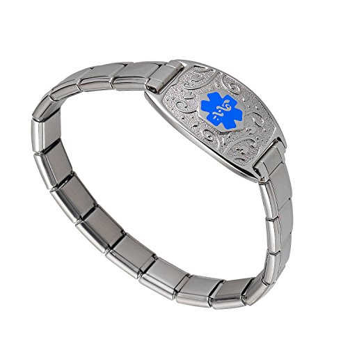 Divoti Custom Engraved Lovely Filigree Stretch Medical Alert Bracelet -Italian Charm-Light Blue