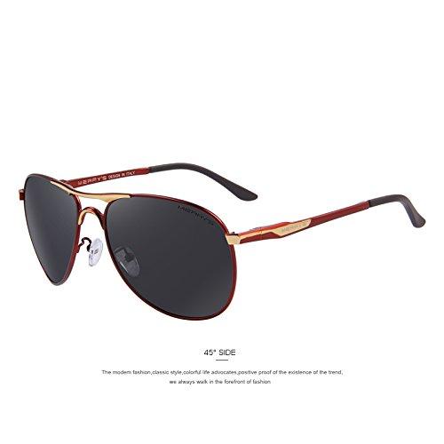 de de C03 C03 Defender Red EMI tonos TIANLIANG04 sol revestimiento polarizadas clásicas gafas hombres Guía aluminio de Rojo Gafas de lentes WHqW7n6