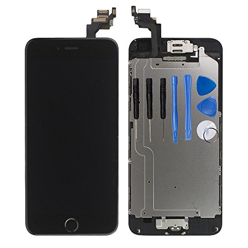for iPhone 6 Digitizer Screen Replacement Black - Ayake 4.7'' Full LCD Display Assembly with Home Button, Front Facing Camera, Earpiece Speaker Pre Assembled and Repair Tool Kits ()