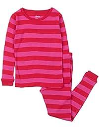 Striped Kids & Toddler Girls Pajamas 2 Piece Pjs Set 100% Cotton Sleepwear (Toddler-14 Years) Purple
