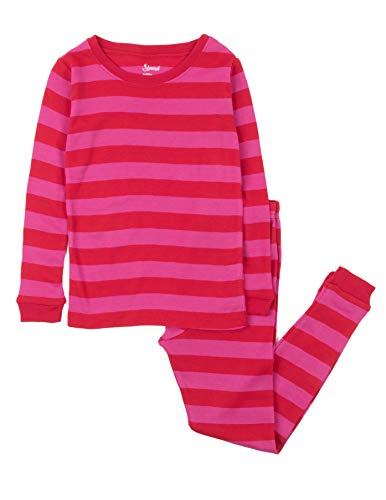 Leveret Striped Kids & Toddler Girls Pajamas 2 Piece Pjs Set 100% Cotton (Size 12-18 Months, Red & Pink) ()