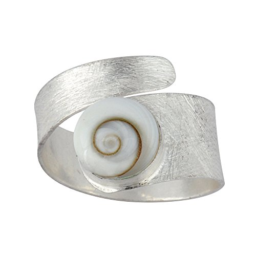 (Silverly Women's .925 Sterling Silver White Shiva Eye Shell Spiral Swirl Satin Adjustable Ring)