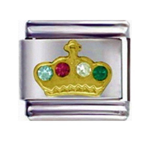 Stylysh Charms Princess Crown Rhinestones Enamel Italian 9mm Link NC125