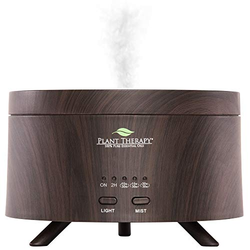 Plant Therapy AromaFuse Aromatherapy Essential Oil Diffuser 380 mL, Wood-Grain | Premium, Quiet, Atomizing Humidifier, 5 Timer Settings, 3 Dimmable LED Night Light Settings, Auto Shut Off
