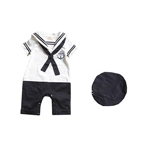 Conjoined Hat - Baby Romper MITIY Hat Cotton Short Sleeved Navy Conjoined Baby Sailor Suit (1-2Y, White)