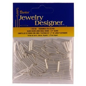 1/2 In. Silver Lined Glass Bugle Beads, Silver, 20 Gram/Pkg