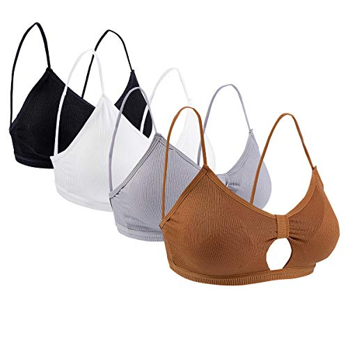 Ueerdand 4 Pieces V Neck Tube Top Bra Seamless Padded Camisole Tanks (Black,White,Gray,Brown - Criss Cross)