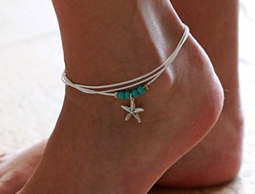 Handmade White Anklet For Women Set With 4 Turquoise Beads and Silver Plated Sea Star Pendant By Galis Jewelry - White Ankle Bracelet For Women - Beaded Anklet by Galis