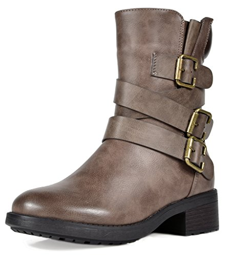 (DREAM PAIRS Women's Strappy Khaki Faux Fur Mid Calf Riding Combat Boots Size 8.5 M US)