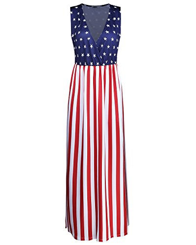 Styleword Women's Sleeveless Waist Pocket Maxi Long Dress(Flag,L) - Womens Flag Dress