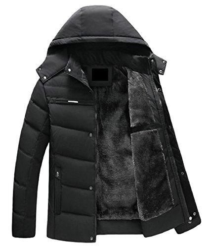 security Men's Winter Removable Hood Fur-Lined Full Zip Parka Jacket Coat 2