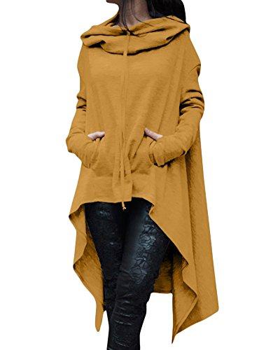 Casual Con Zongsen Giallo Vestito Hoodies Maglietta Lunghe Oversize Cappuccio Maniche Felpe Tops Donna Sweatshirt g66f5qwxZ